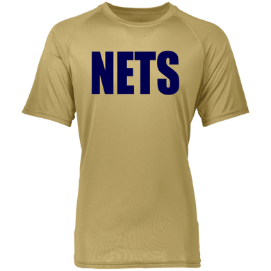 NETS BOLD BL Youth Raglan Wicking T-Shirt - Vegas Gold