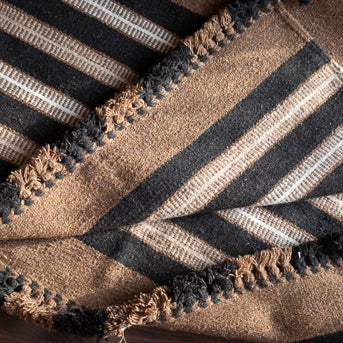 Kharad rug in ochre, sand, ivory and charcoal stripes