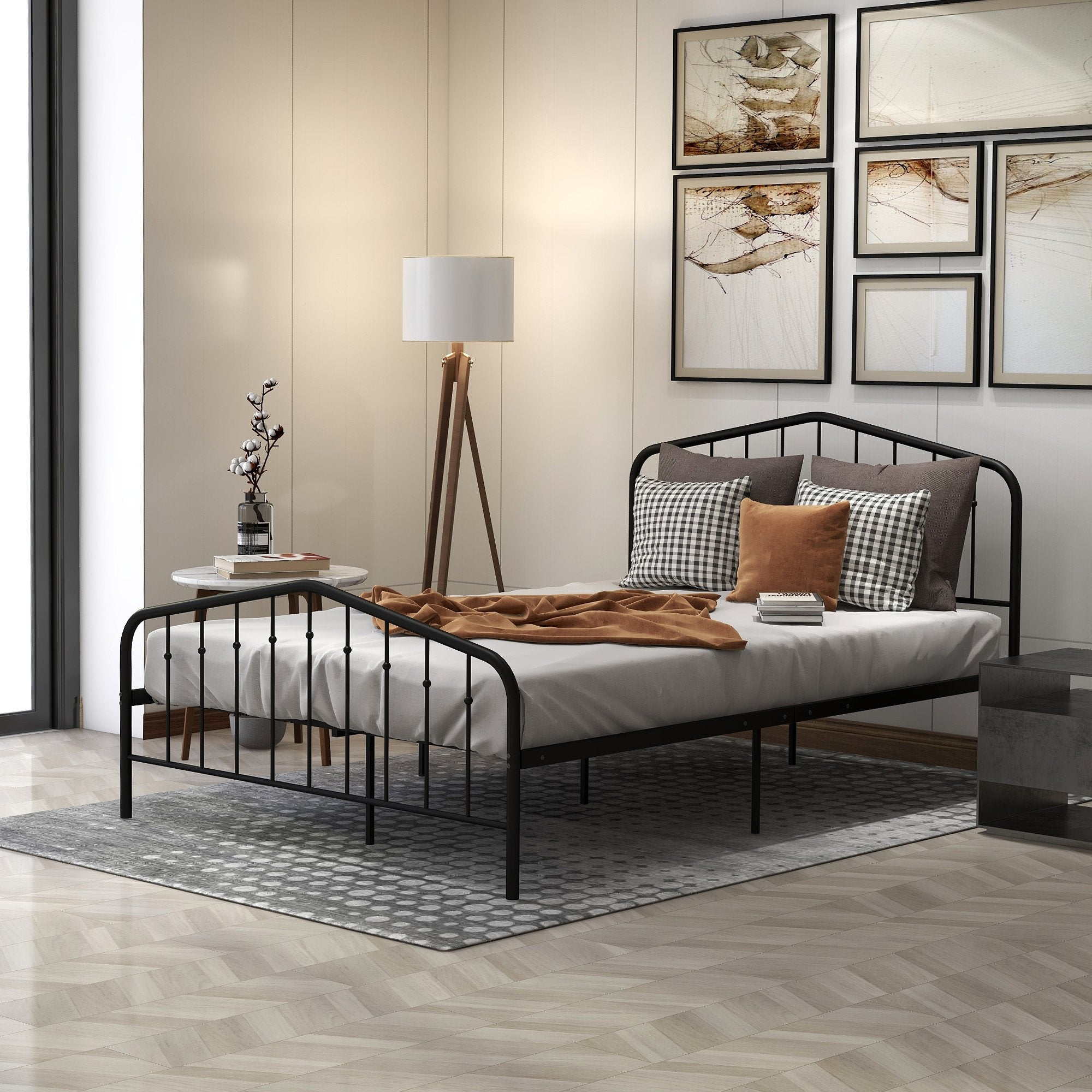 Queen Size Black Metal Platform Bed With High Profile Headboard And Fo Homedaybed