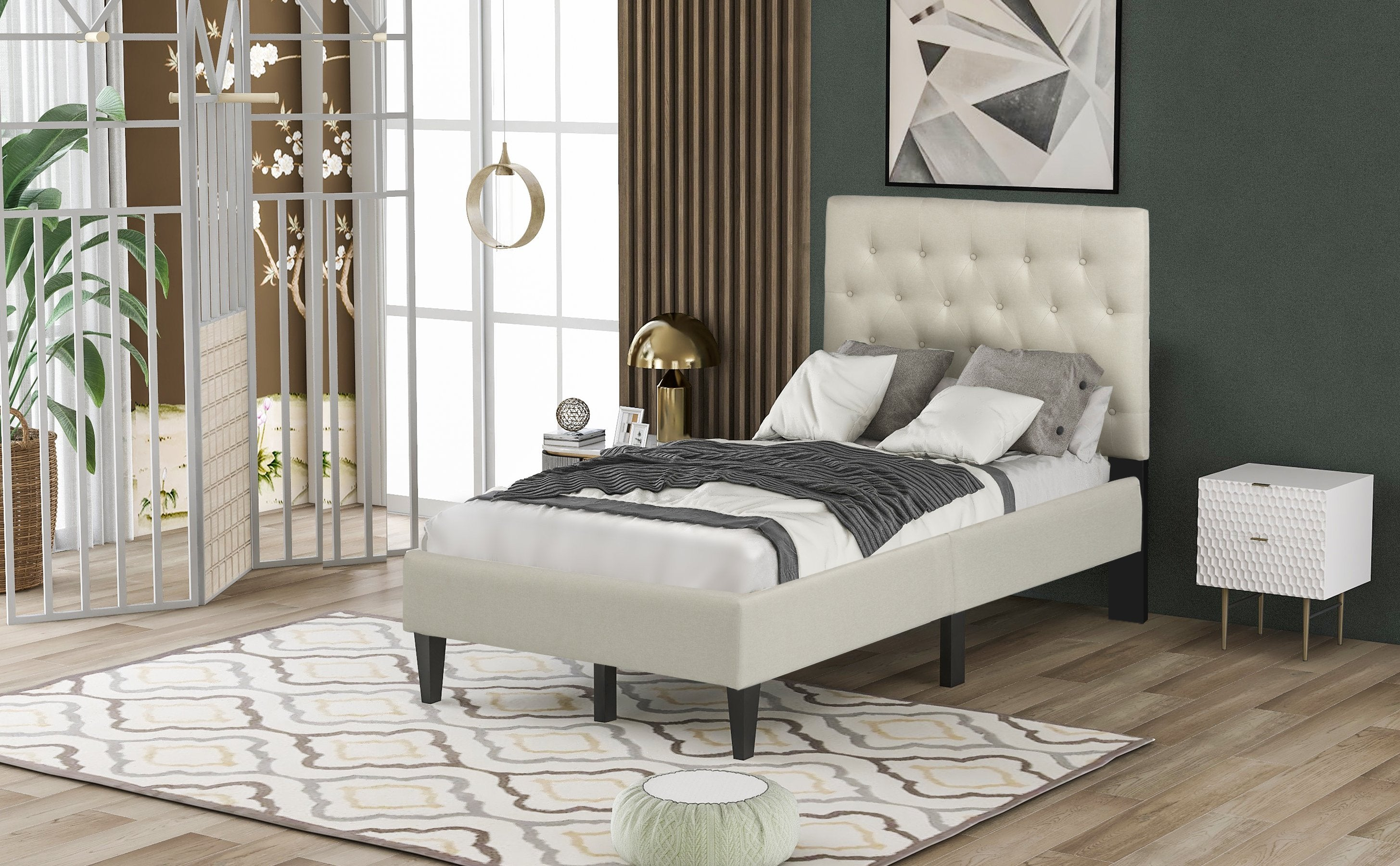 Twin Beige Upholstered Wood Platform Bed With Button Tufted Headboard Homedaybed