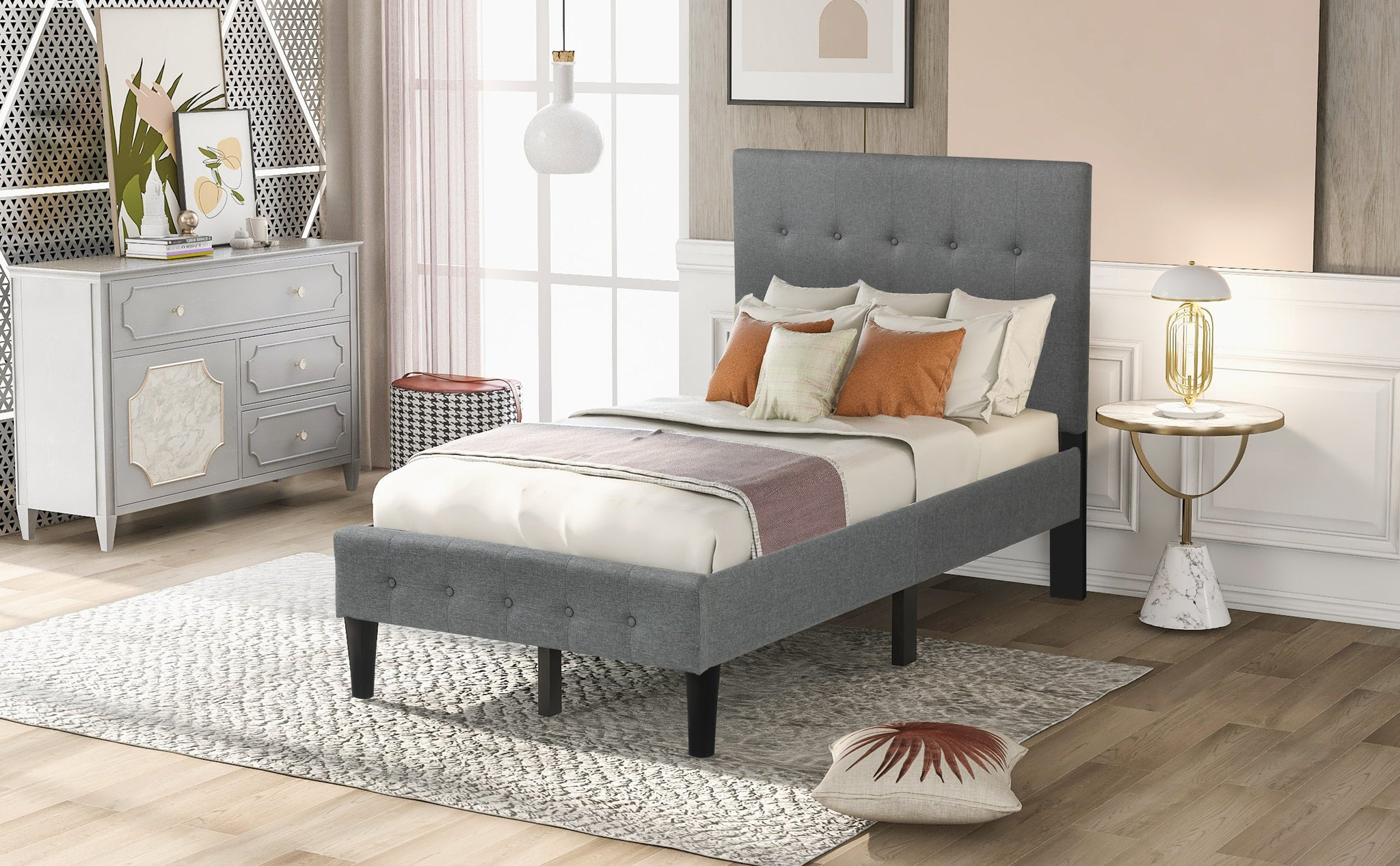 Twin Gray Upholstered Wood Platform Bed With Button Tufted Headboard A Homedaybed