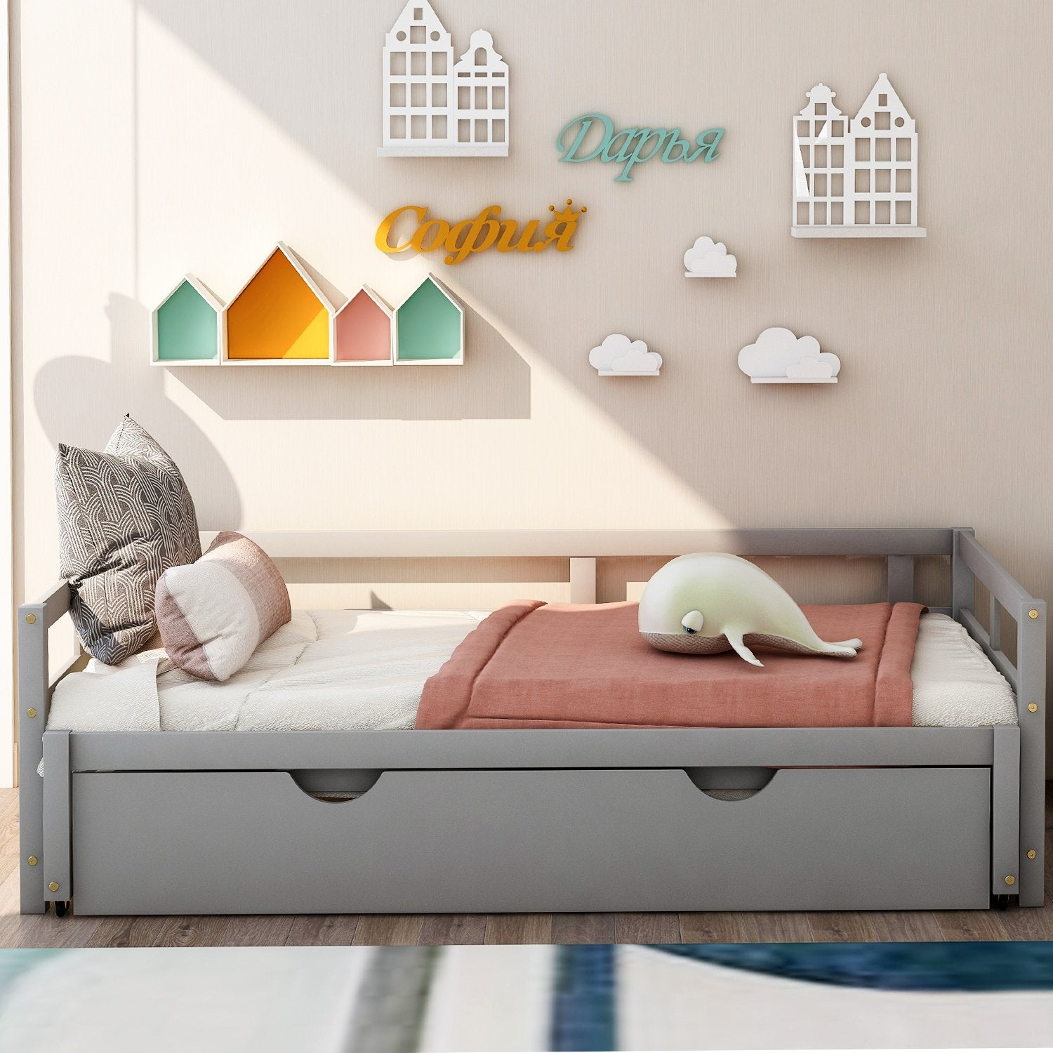 Twin Gray Wood Daybed With Twin Trundle Extends To King Size Homedaybed