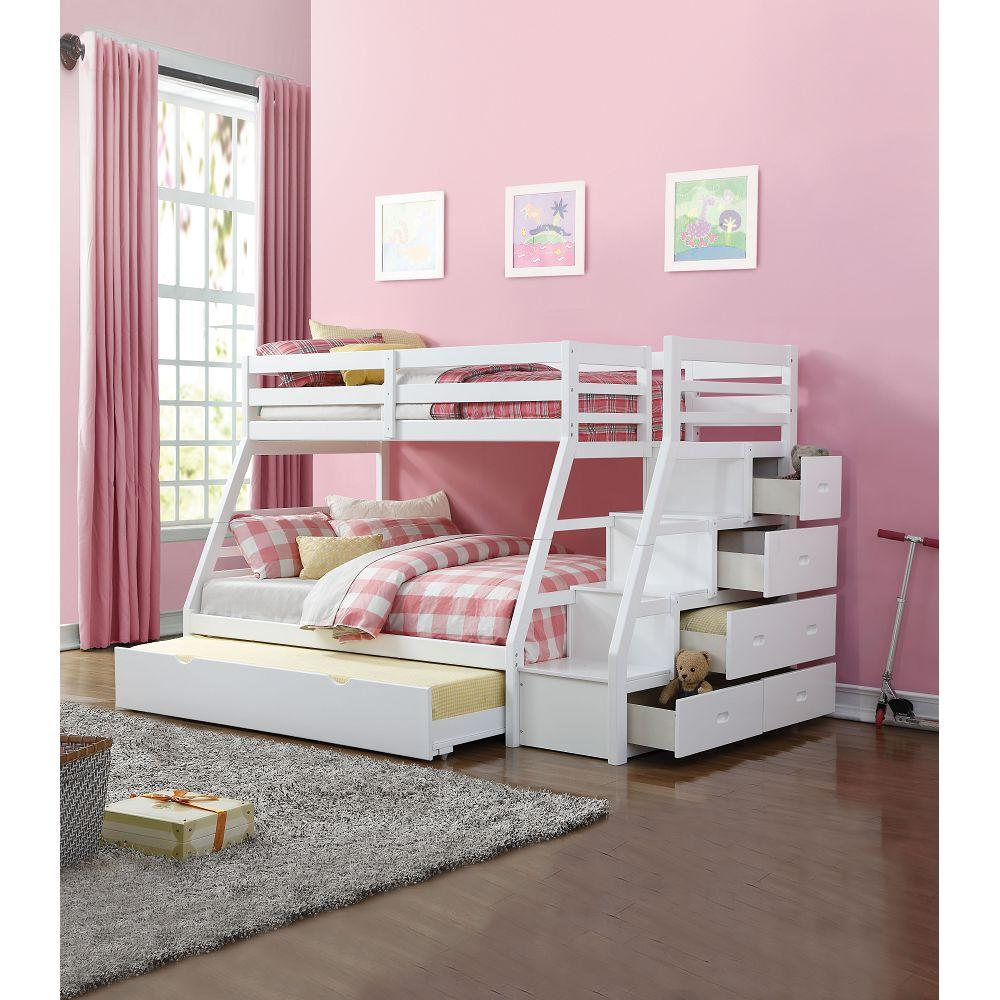 Twin Over Full White Wood Acme Jason Bunk Bed With Twin Trundle Stair Homedaybed
