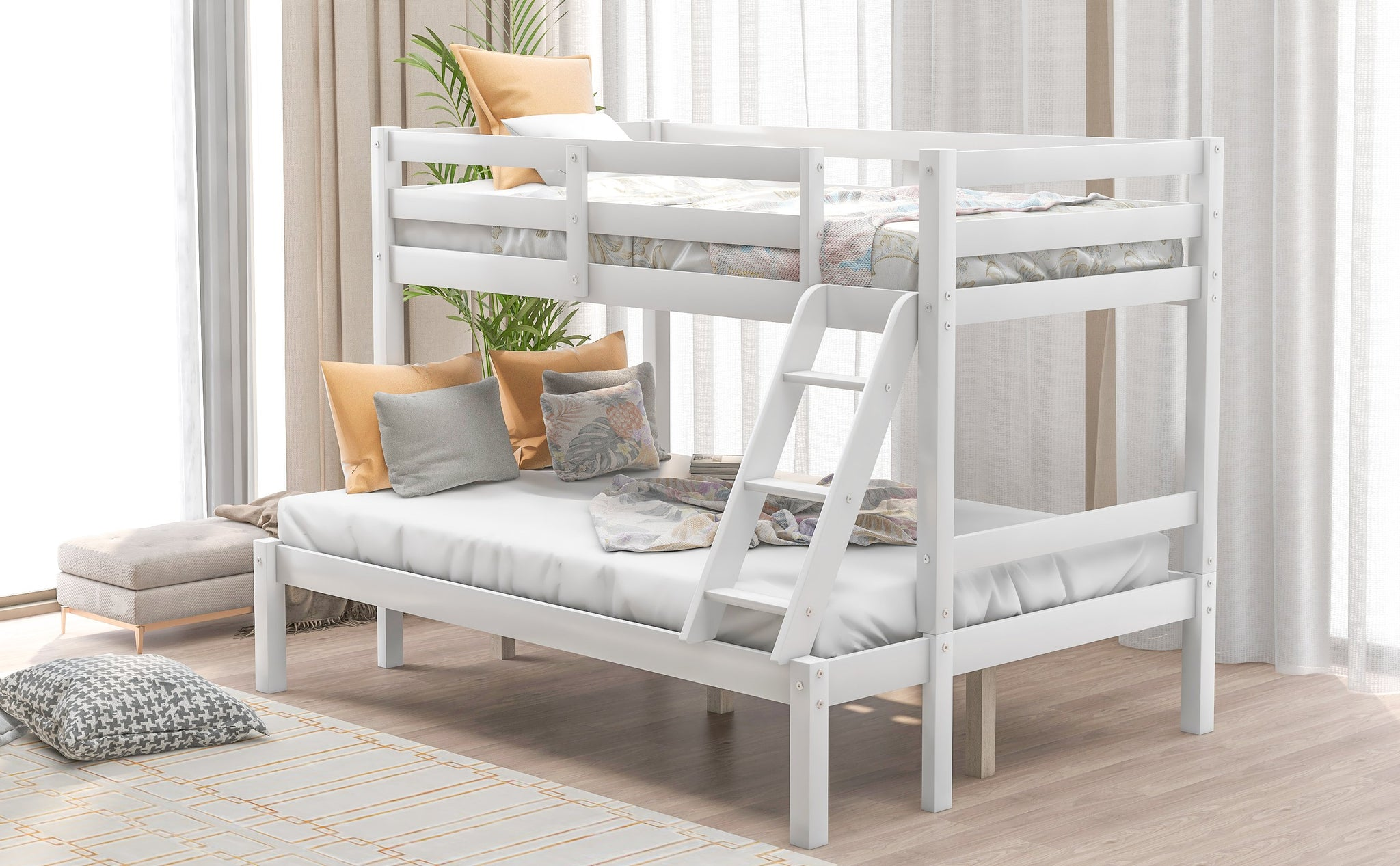 Twin Over Full White Wood Minimalistic Bunk Bed Homedaybed
