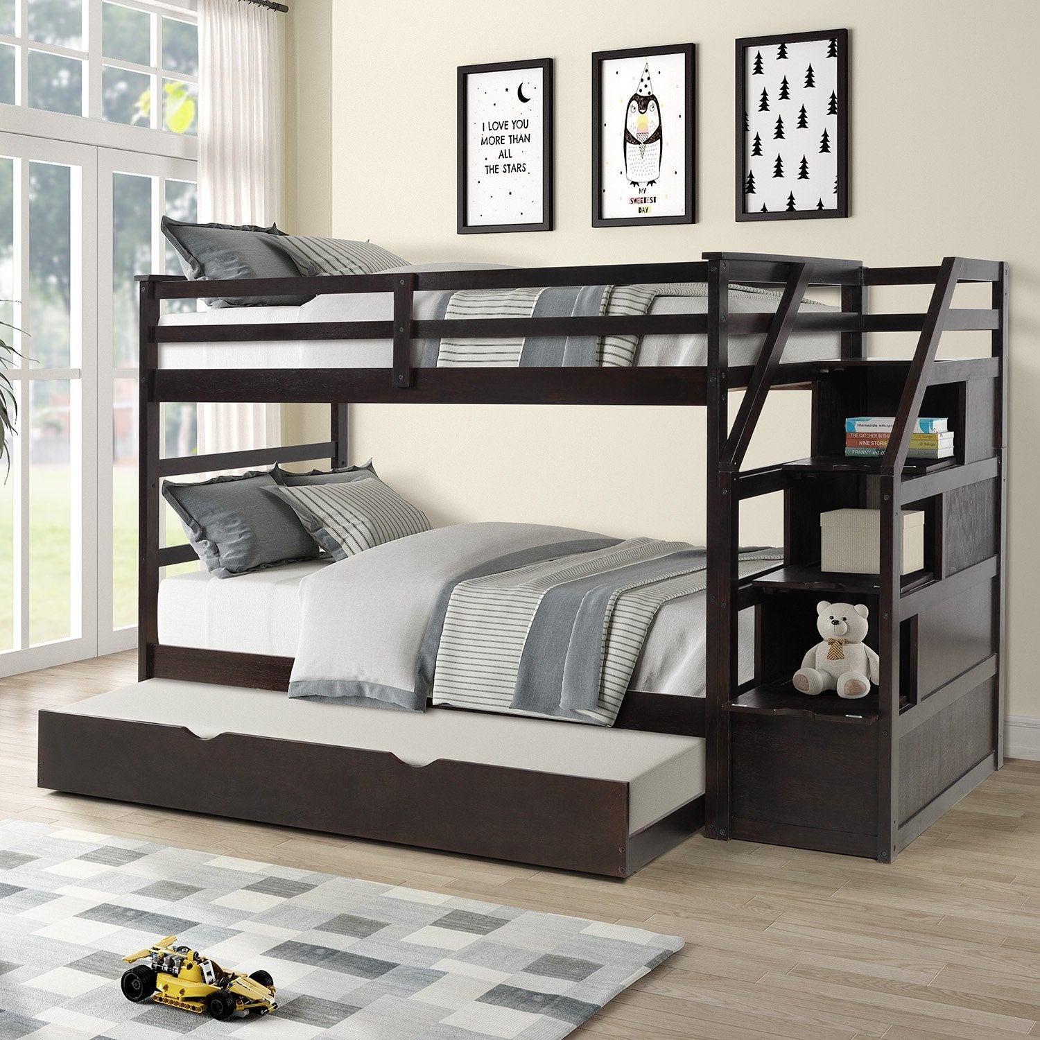 Twin Over Twin Espresso Pinewood Bunk Bed With Twin Trundle Staircase Homedaybed