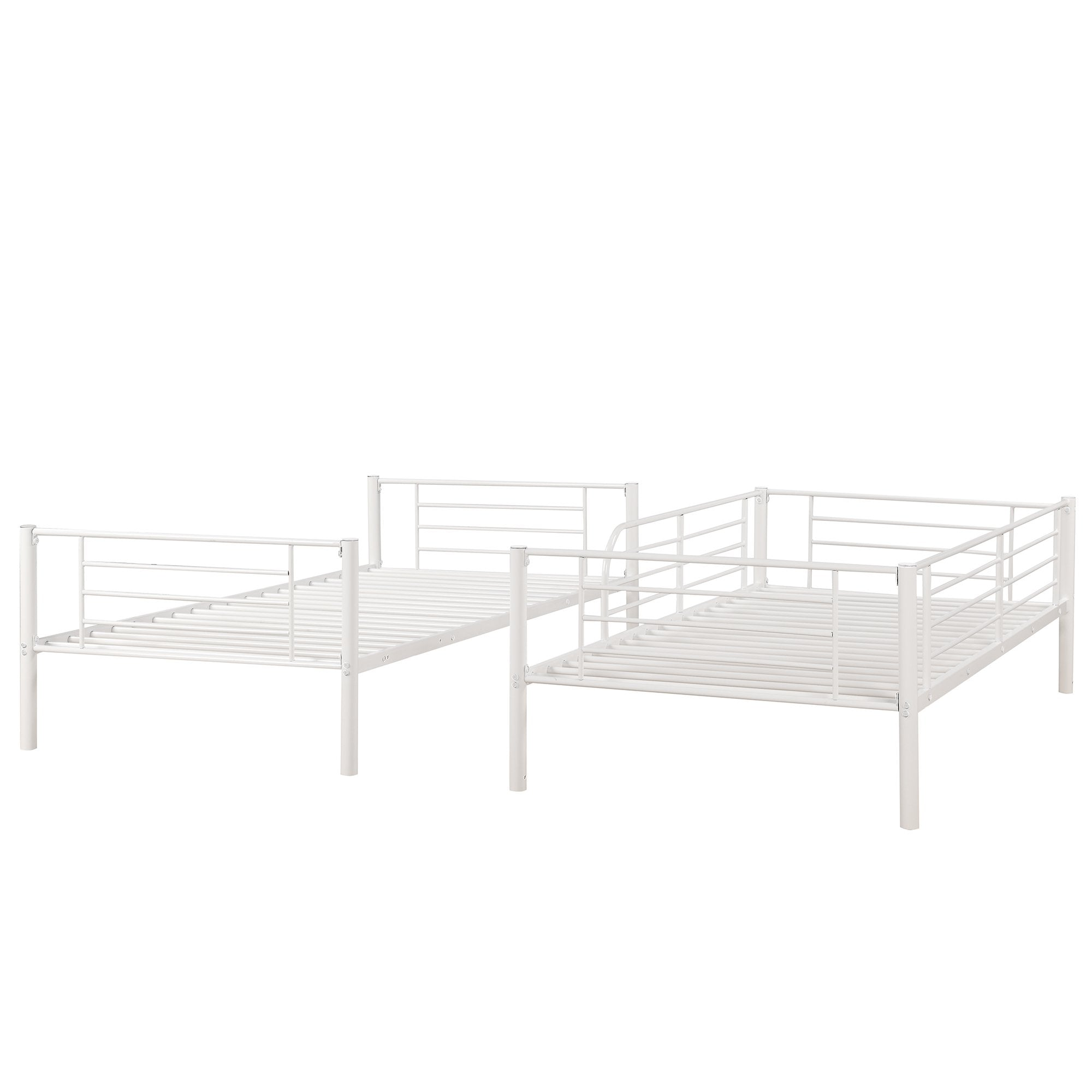 Twin Over Twin White Metal Bunk Bed Homedaybed