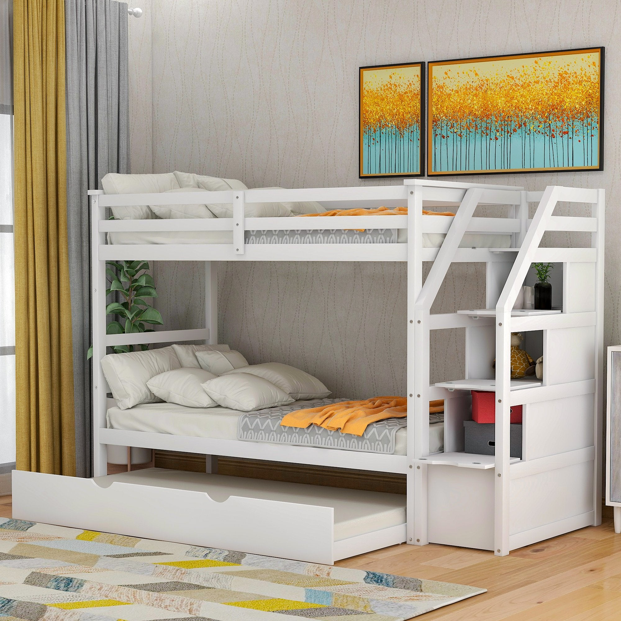 Twin Over Twin White Pinewood Bunk Bed With Twin Trundle And Staircase Homedaybed