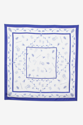 Lexine Silk Scarf Blue White