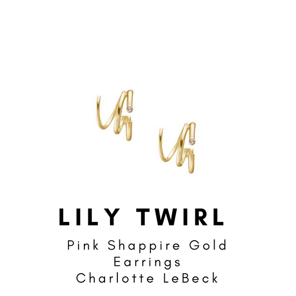 Lily Pink Sapphire Twirl Gold Earrings