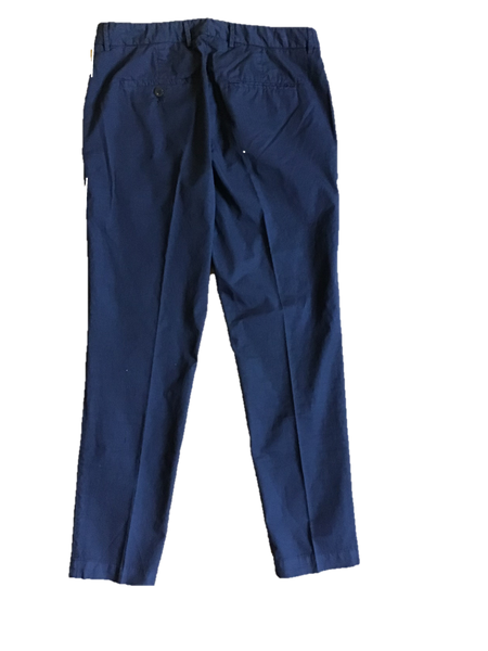 Slim Fitting Cotton Trousers Navy