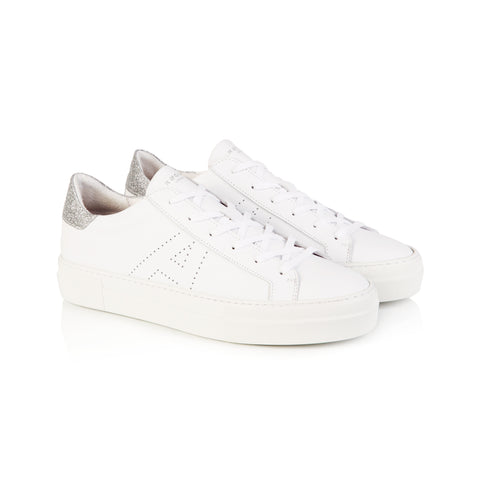 Roxy White and Silver Platform Trainers