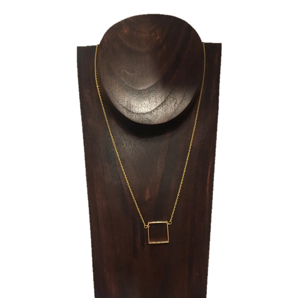 Square Gold Long Necklace