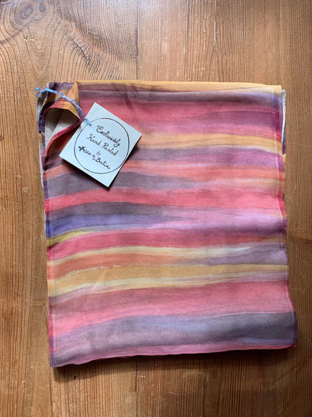 Sunset hand painted silk and cashmere scarf.
