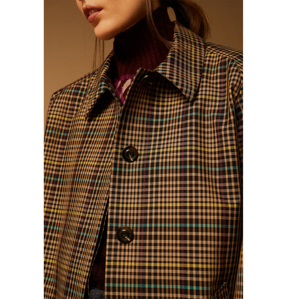 Lettonie Check Cotton Trench Coat