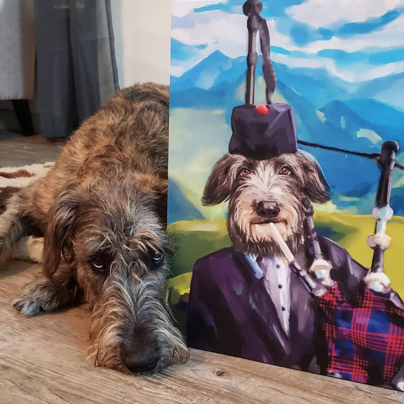 Irish Wolfhound poses next to his finished canvas!