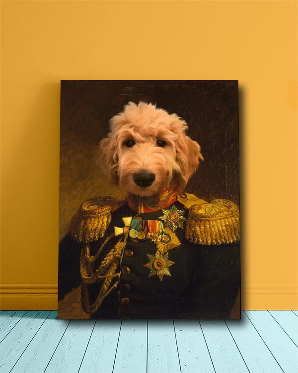 Curly haired dog painted as a General in a custom pet portrait