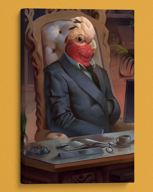 Bird Dressed as a CEO Painted into a Hilarious oil styled Portrait.
