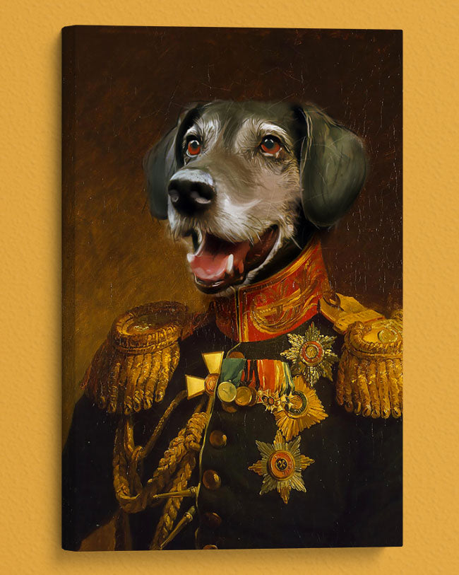 Handsome Pup Painted as a General in a personalized canvas oil masterpiece.