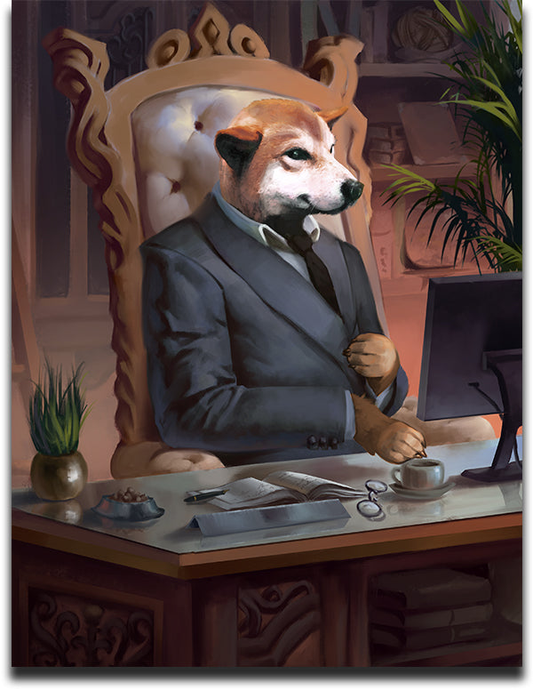 Funny Custom Pet Portrait of a Shiba Inu dog Painted as a CEO doing business at his desk.