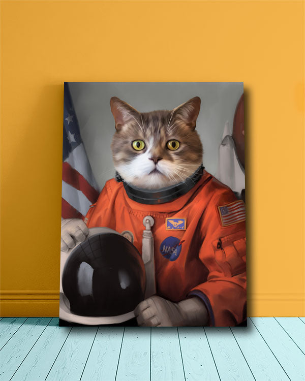 Startled Cat painted into Pet Portrait in an Astronaut Costume