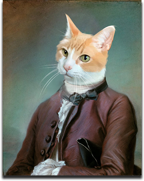 Personalized Pet Painting of a Tabby Cat dressed in an Ambassador Costume