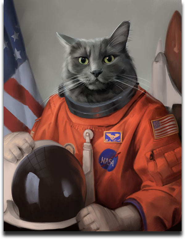 Personalized Pet Painting of a Grey Cat dressed in an Astronaut Suite with the American Flag in the background.