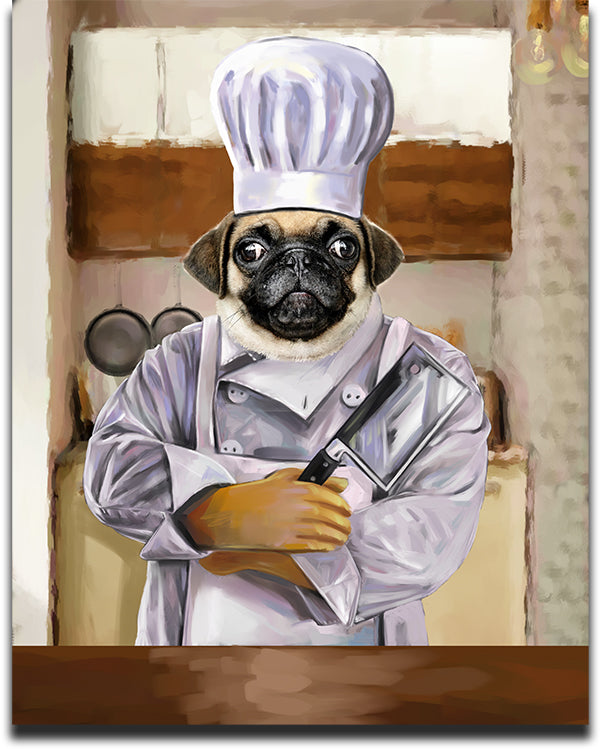 Personalized Chef Pet Portrait of a Pug in a White Chef's Uniform Holding a Butcher's Knife.