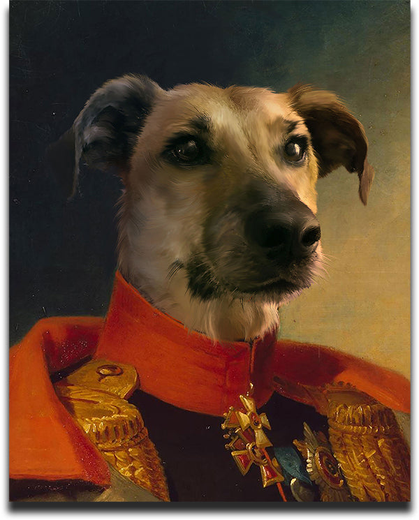 Custom Pet Oil Portrait of a Dog in a Military Commanders Outfit.