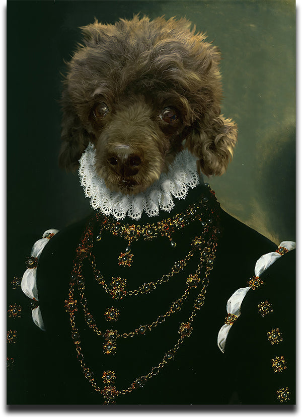 Personalized Renaissance Pet Portrait Featuring a Poodle Dressed in the Dame Costume.