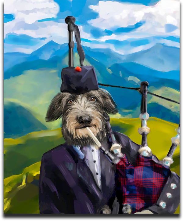 Hilarious Pet Canvas Artwork featuring an Irish Wolfhound Playing BagPipes as the IrishMan
