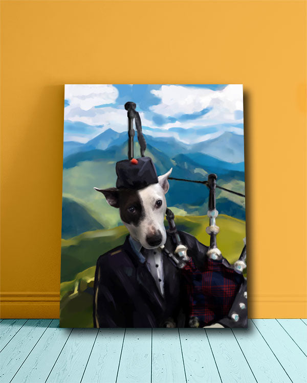 The Irishman, original pet portrait featuring a spotted puppy.
