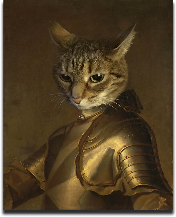 Funny Pet masterpiece featuring a striped cat's face digitally painted on the body of a knight.