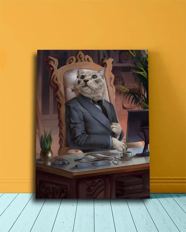 Creative Canvas Portrait of a Cat Dressed as a CEO Boss.