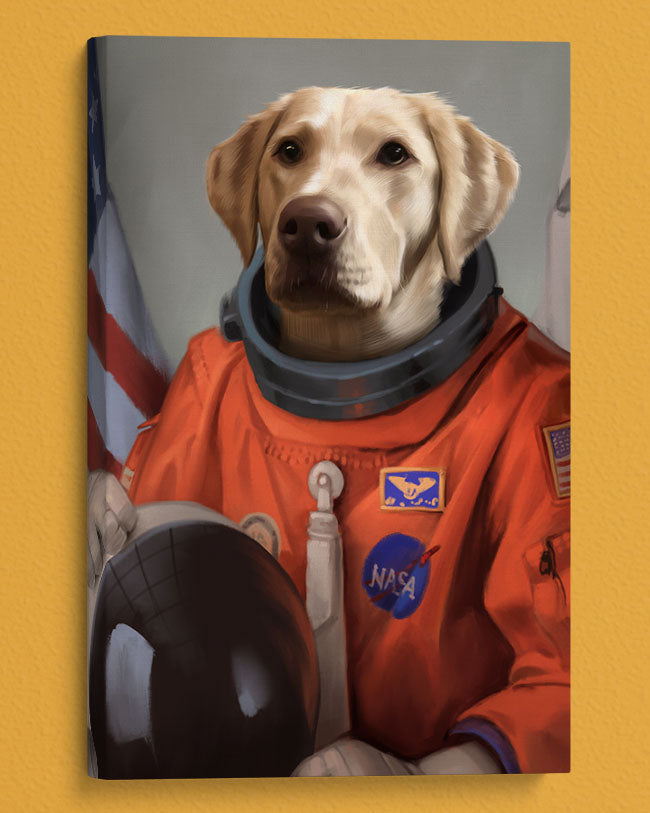 Golden Retriever Custom Pet Portrait Painted in an Astronaut Costume Looks off into distance.