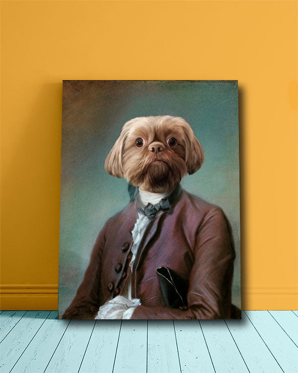 Silly Custom Pet Portrait of a dog dressed in a dapper ambassador Suite