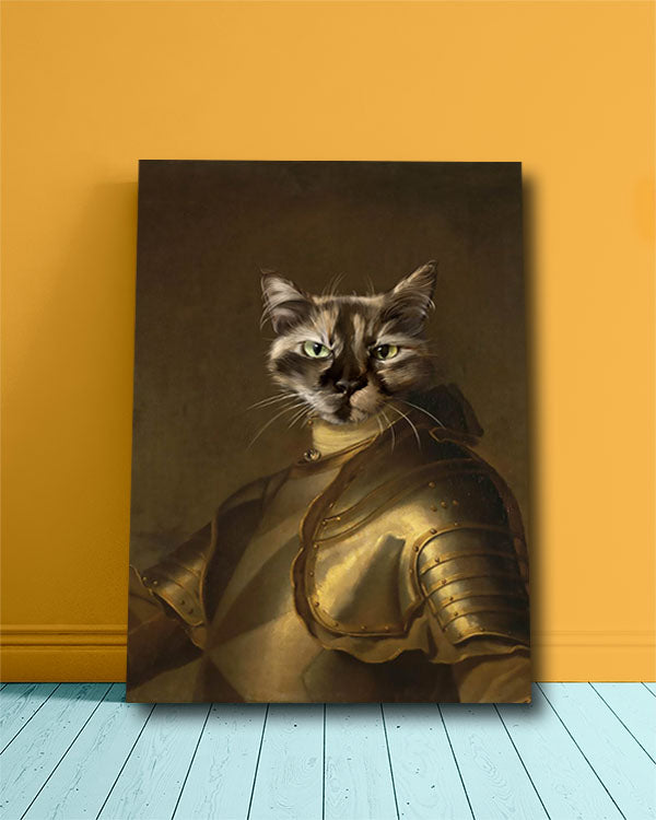 Cool cat's head painted onto the body of a knight customization pet portrait.