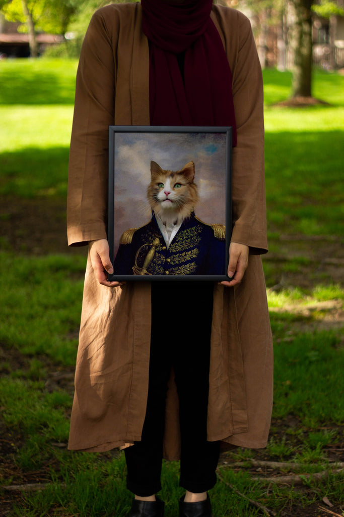 Unique renaissance custom dog painting being held by pet owner