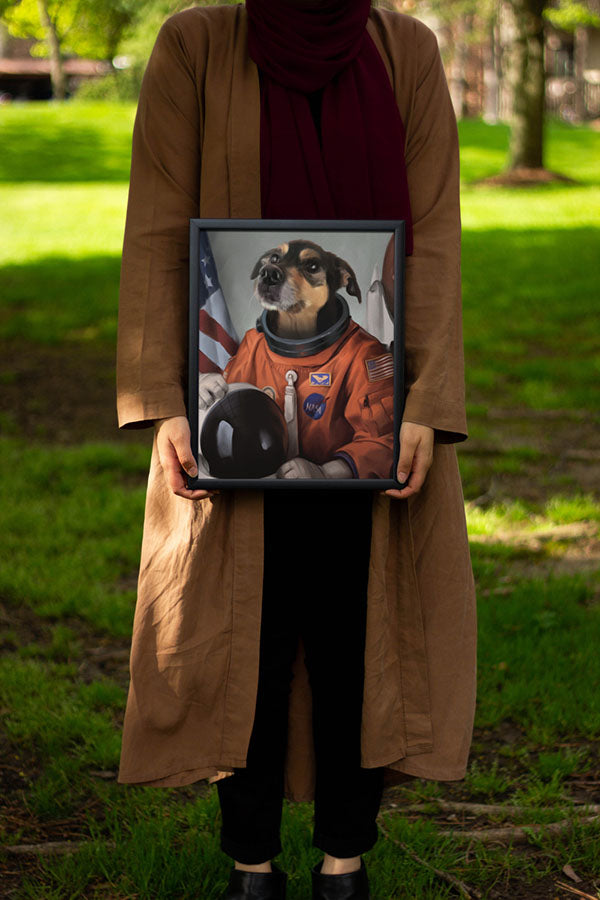 Woman Holding her hilarious Pet Portrait she bought from Doge Face.