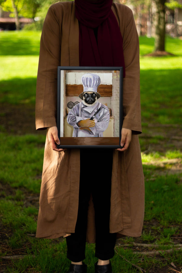 Unique Chef custom dog painting being held by pet owner