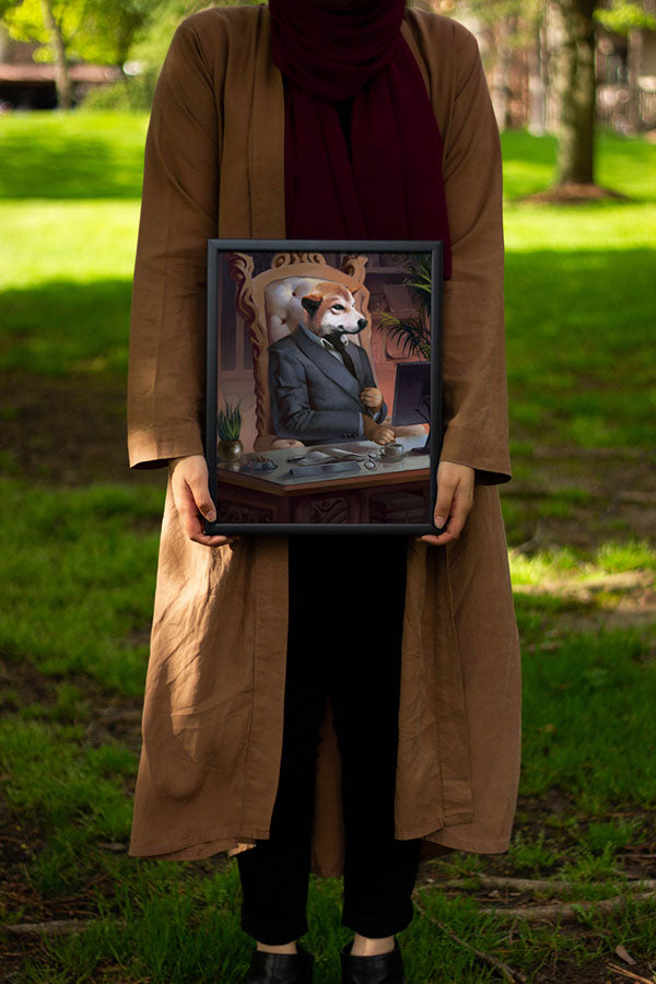 Happy Pet Owner Holding Finished Custom Pet Canvas at Dog Park