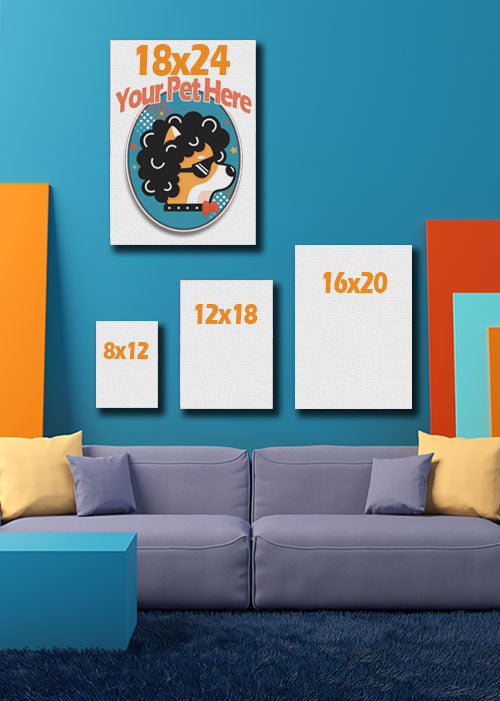 Four Pet portraits hanging in playful living room displaying canvas size.
