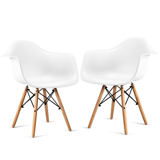 Set of 2 Mid-Century Dining Arm Chairs with Wood Legs Chairs Dining Room Modern HW58942-2 - piperandfox