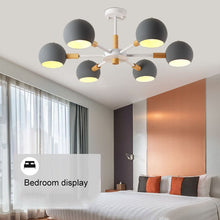 Load image into Gallery viewer, Nordic style solid wood lamps modern minimalist E27 led chandelier for living room dining room restaurant bedroom study - piperandfox