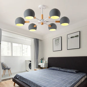Nordic style solid wood lamps modern minimalist E27 led chandelier for living room dining room restaurant bedroom study - piperandfox