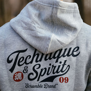 SCRAMBLE TECHNIQUE AND SPIRIT PULLOVER HOODIE – GREY