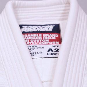 SCRAMBLE STANDARD ISSUE BJJ GI V3 2020 – FEMALE CUT – WHITE