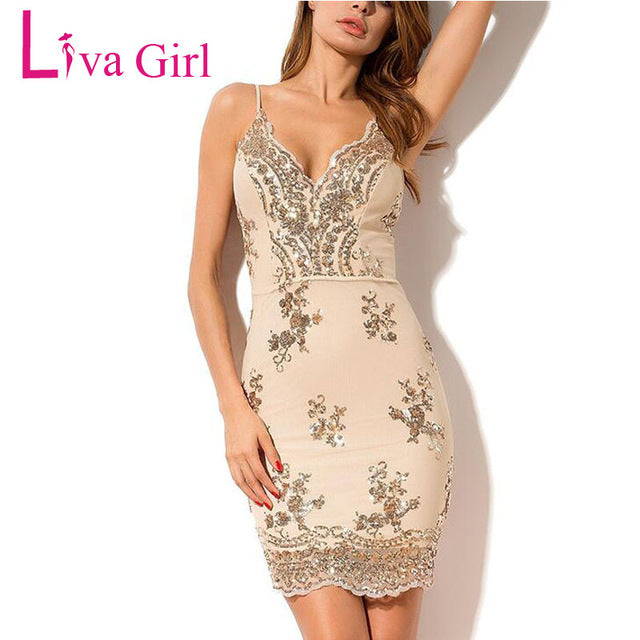Womens V-neck Sequins Party Dress (Summer)