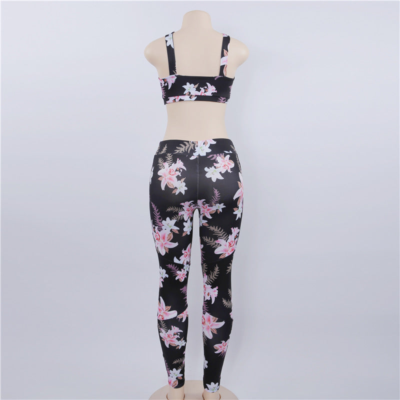 Sexy Floral Printed Sports Suit (Leggings + Bra)