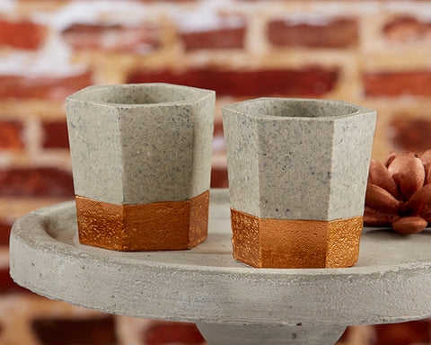 Concrete & copper candle holders