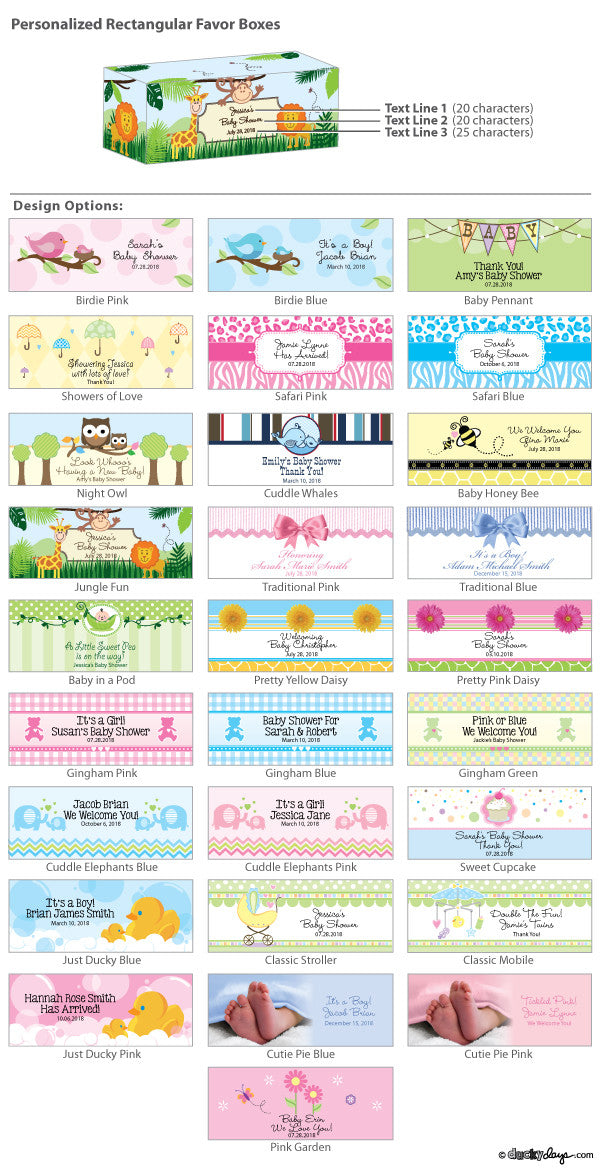 Rectangular Baby Shower Favor Boxes